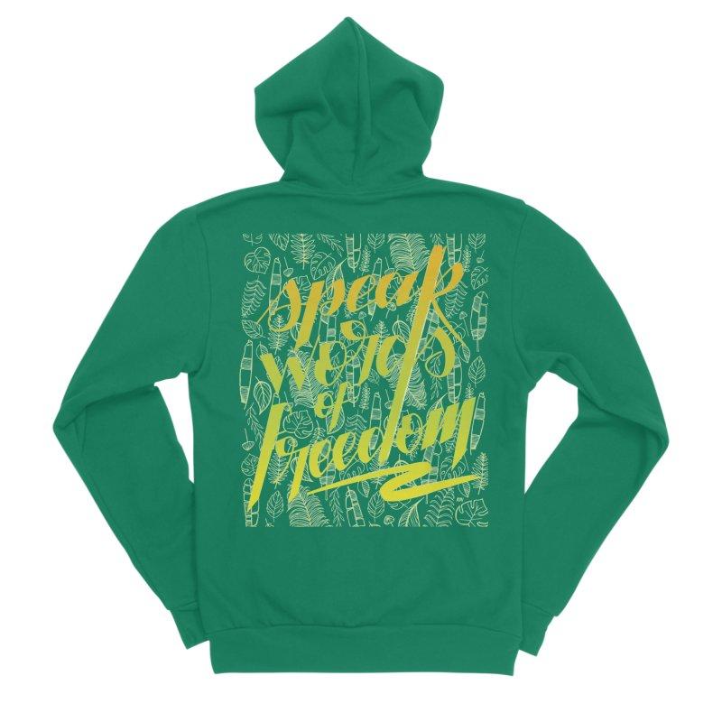 Speak words of freedom - green version Women's Sponge Fleece Zip-Up Hoody by Andrea Garrido V - Shop