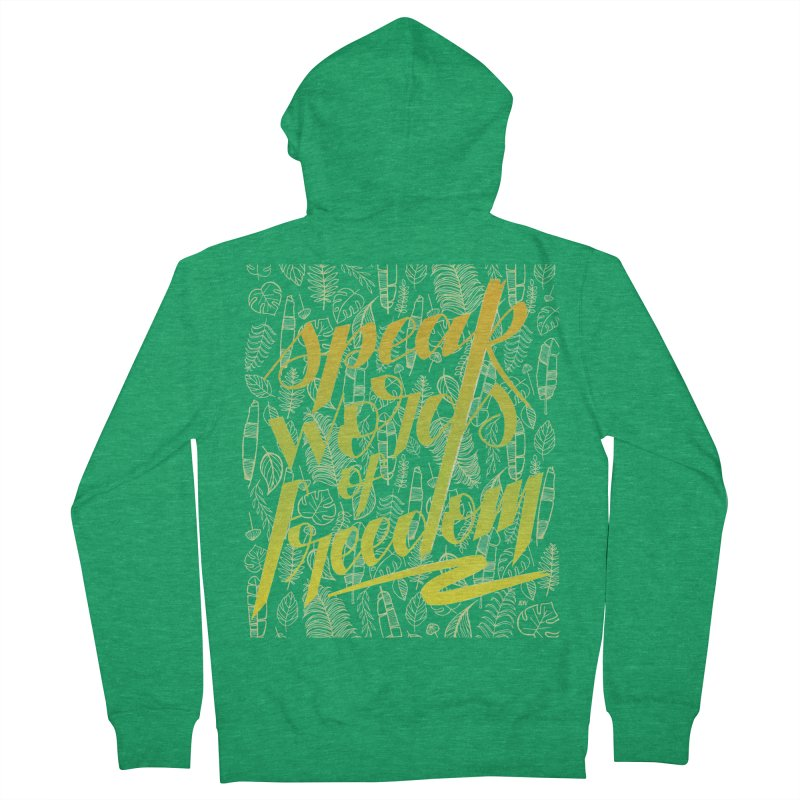 Speak words of freedom - green version Men's Zip-Up Hoody by Andrea Garrido V - Shop