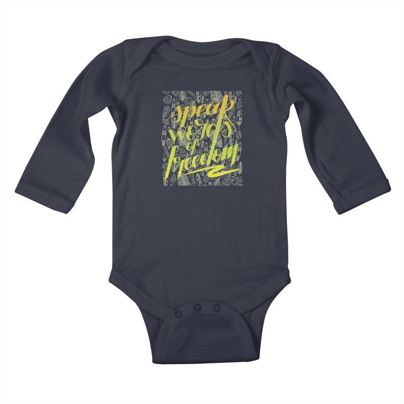Speak words of freedom - green version Kids Baby Longsleeve Bodysuit by Andrea Garrido V - Shop