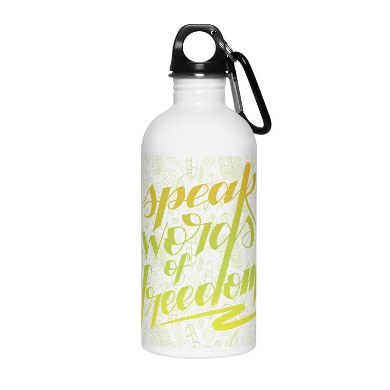 Speak words of freedom - green version Accessories Water Bottle by Andrea Garrido V - Shop