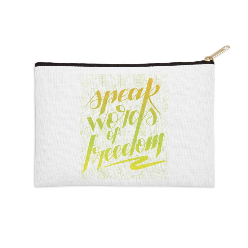 Speak words of freedom - green version Accessories Zip Pouch by Andrea Garrido V - Shop