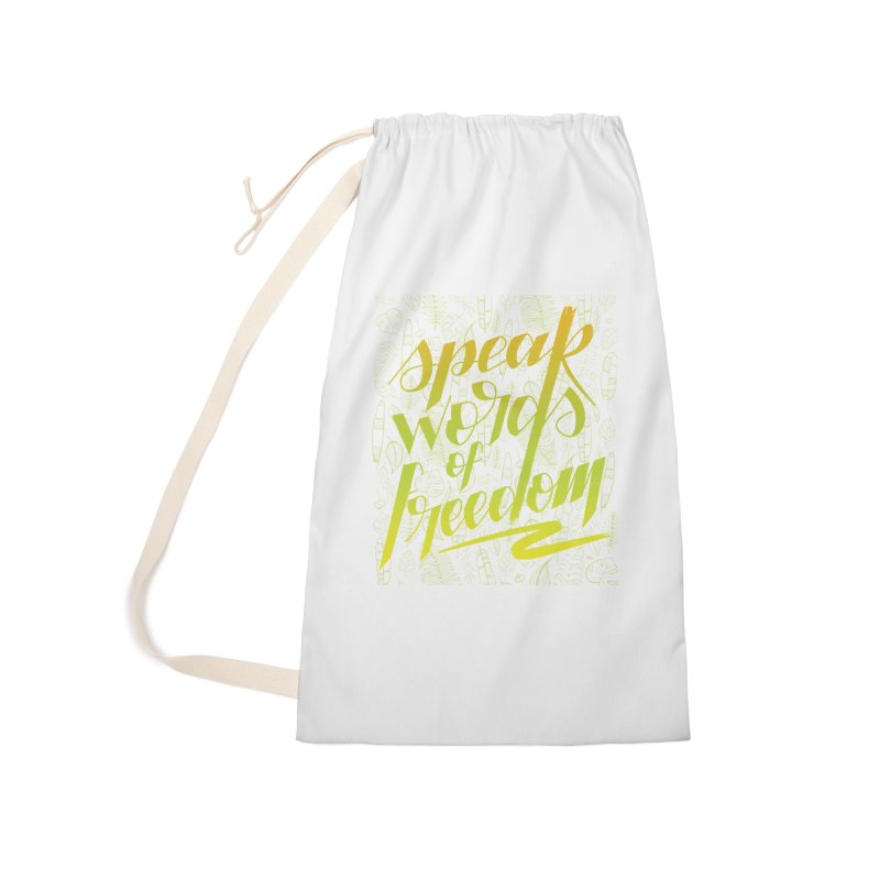 Speak words of freedom - green version Accessories Laundry Bag Bag by Andrea Garrido V - Shop