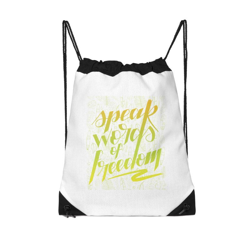 Speak words of freedom - green version Accessories Drawstring Bag Bag by Andrea Garrido V - Shop