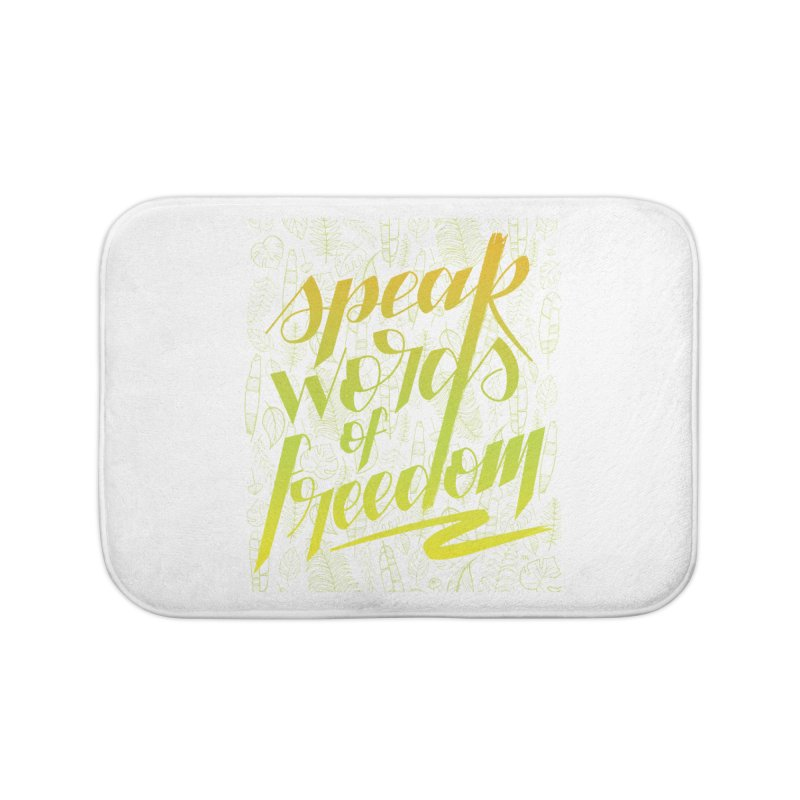 Speak words of freedom - green version Home Bath Mat by Andrea Garrido V - Shop