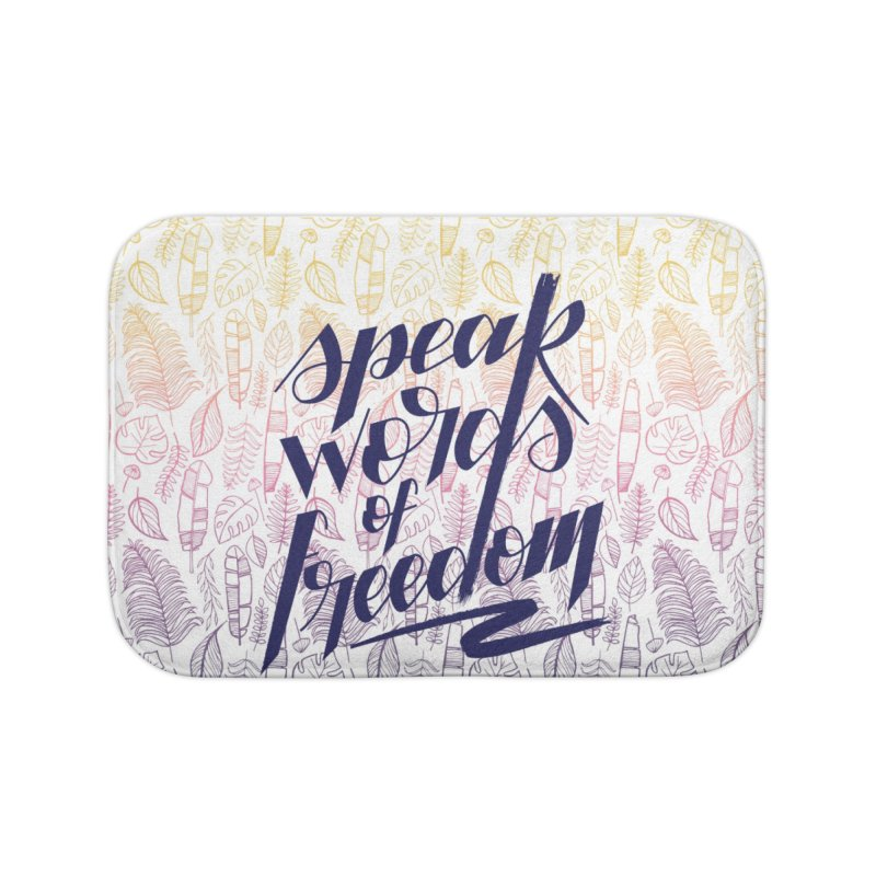 Speak words of freedom - blue version Home Bath Mat by Andrea Garrido V - Shop