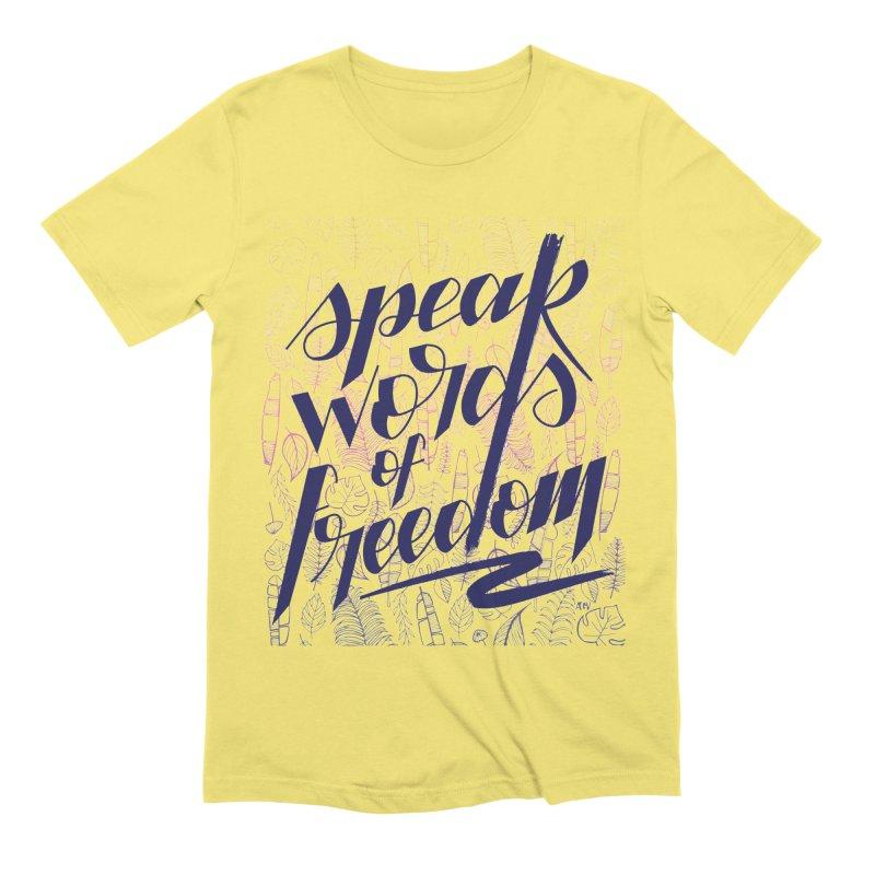 Speak words of freedom - blue version Men's Extra Soft T-Shirt by Andrea Garrido V - Shop