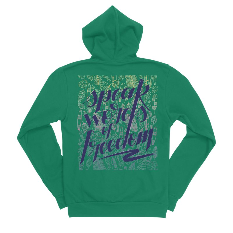 Speak words of freedom - blue version Women's Sponge Fleece Zip-Up Hoody by Andrea Garrido V - Shop