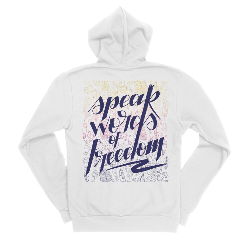 Speak words of freedom - blue version Women's Sponge Fleece Zip-Up Hoody by Andrea Garrido V - Shop