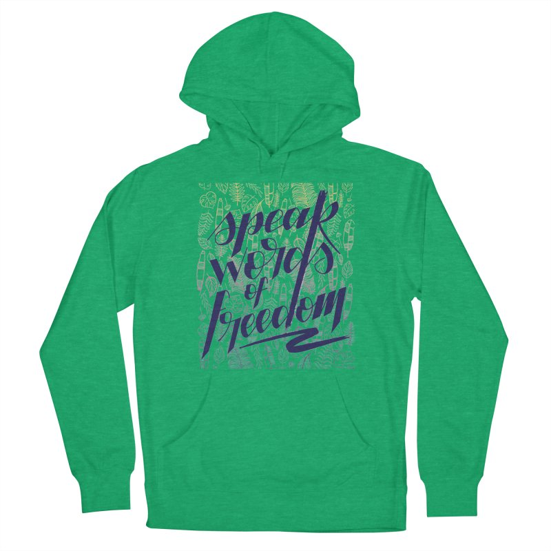 Speak words of freedom - blue version Women's French Terry Pullover Hoody by Andrea Garrido V - Shop