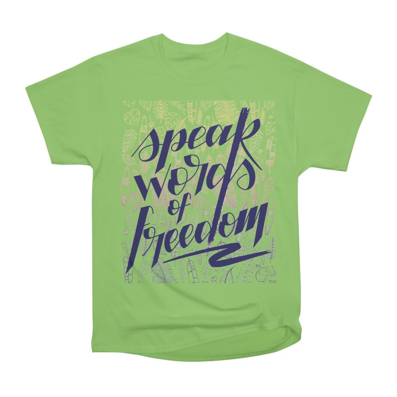 Speak words of freedom - blue version Men's Heavyweight T-Shirt by Andrea Garrido V - Shop