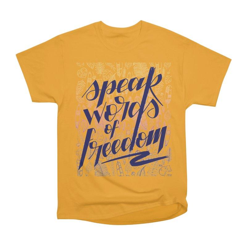 Speak words of freedom - blue version Men's Heavyweight T-Shirt by Andrea Garrido V - Shop