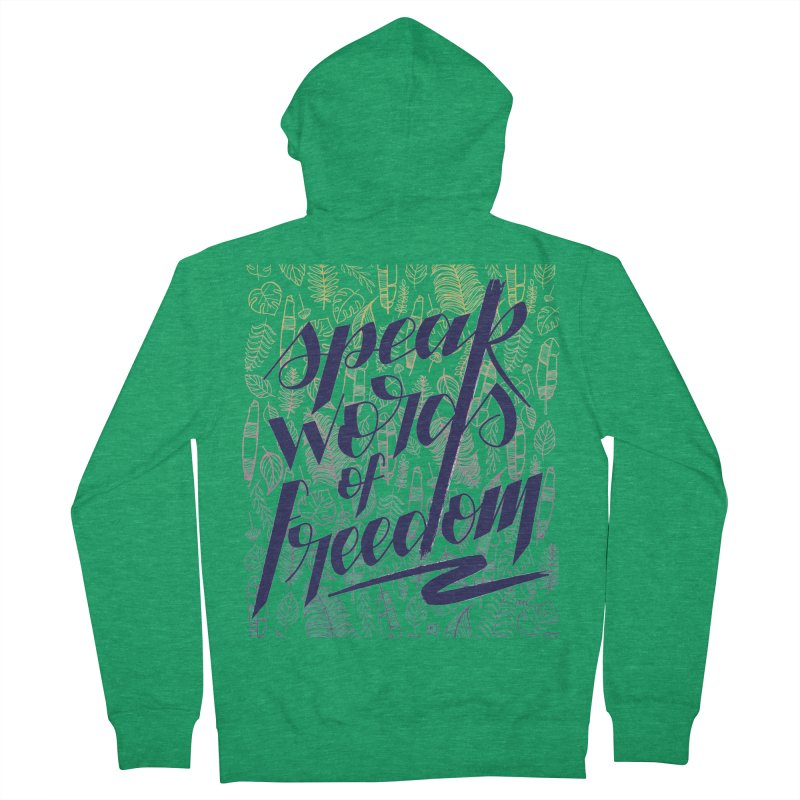 Speak words of freedom - blue version Men's French Terry Zip-Up Hoody by Andrea Garrido V - Shop
