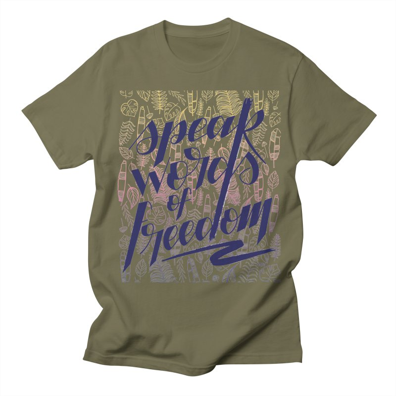 Speak words of freedom - blue version Men's Regular T-Shirt by Andrea Garrido V - Shop