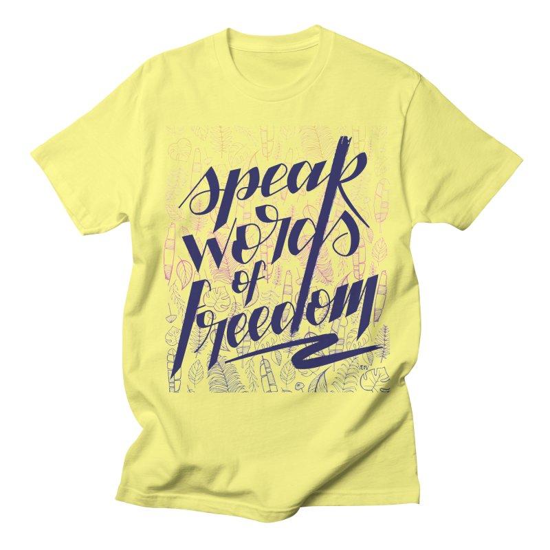 Speak words of freedom - blue version Women's Regular Unisex T-Shirt by Andrea Garrido V - Shop