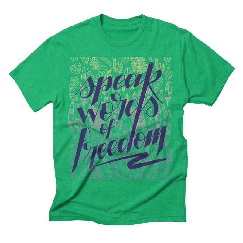 Speak words of freedom - blue version Men's Triblend T-Shirt by Andrea Garrido V - Shop