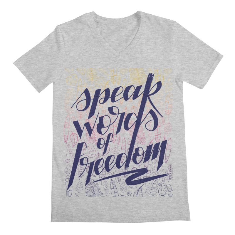 Speak words of freedom - blue version Men's Regular V-Neck by Andrea Garrido V - Shop