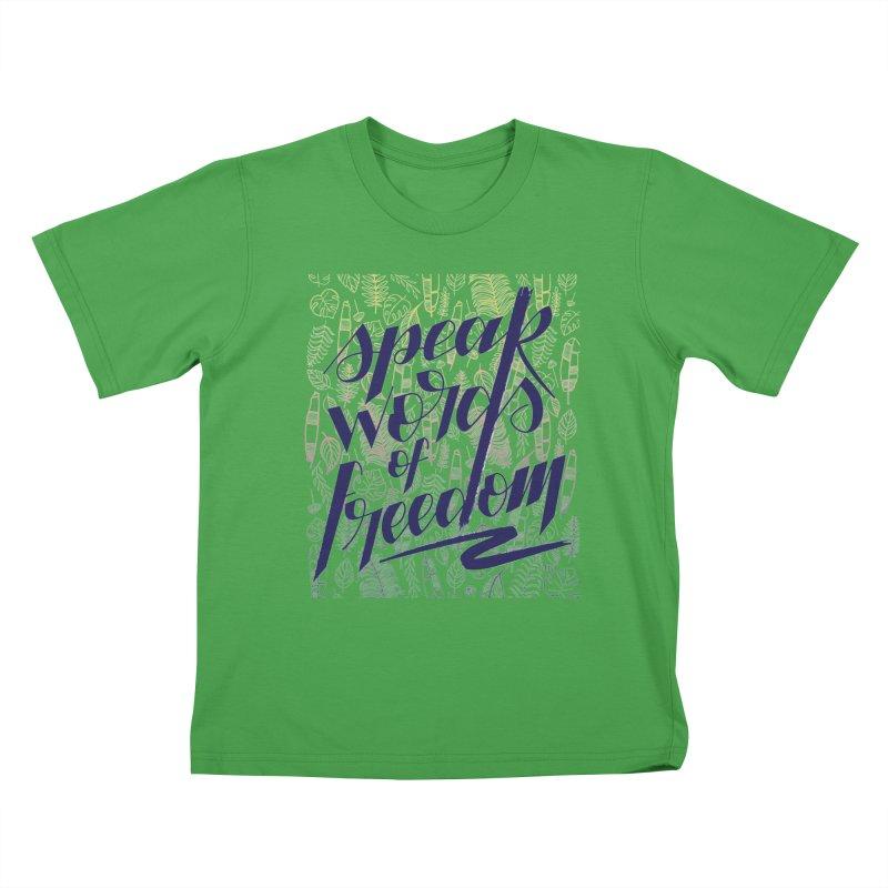 Speak words of freedom - blue version Kids T-Shirt by Andrea Garrido V - Shop