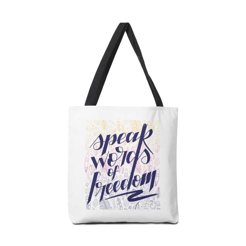 Speak words of freedom - blue version Accessories Tote Bag Bag by Andrea Garrido V - Shop