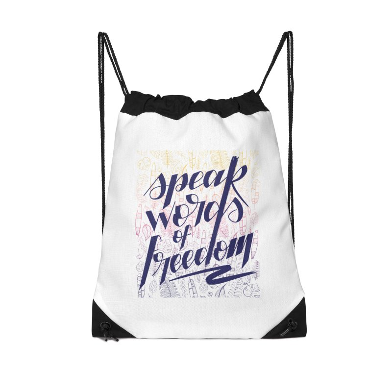 Speak words of freedom - blue version Accessories Drawstring Bag Bag by Andrea Garrido V - Shop