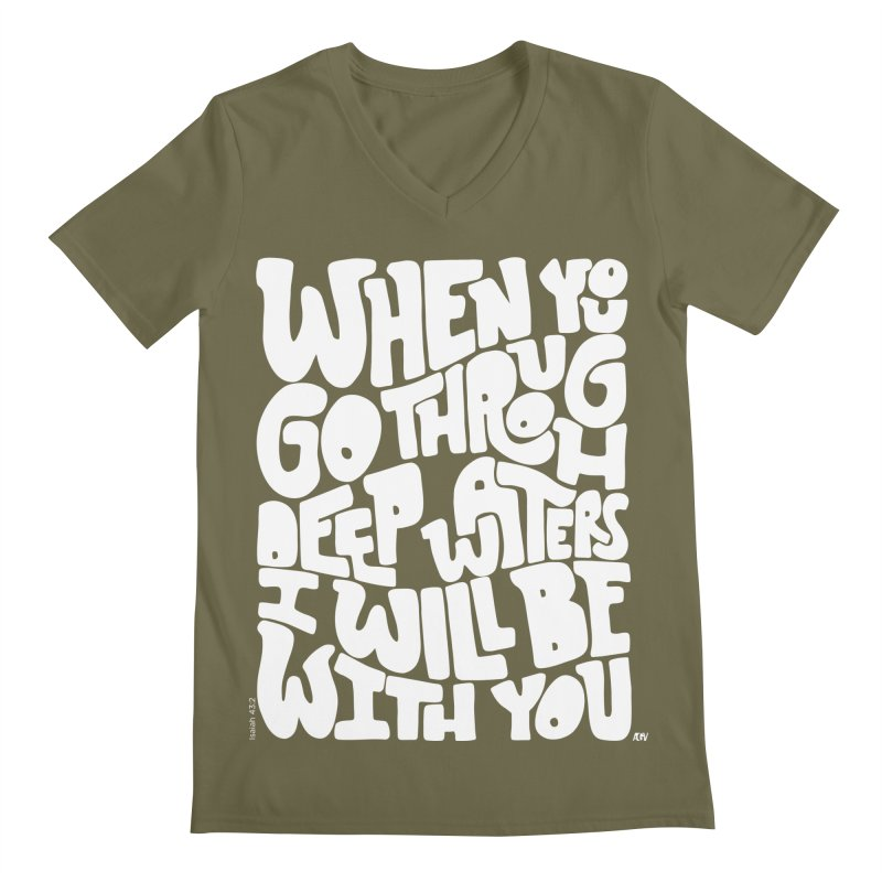 Through deep waters God is with you Men's Regular V-Neck by Andrea Garrido V - Shop