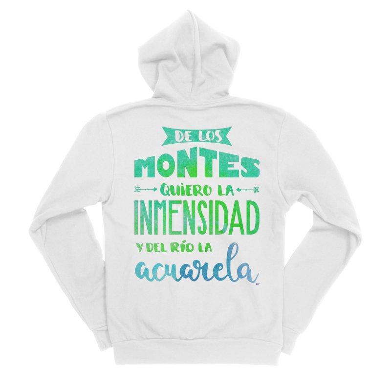 """""""De los montes quiero la inmensidad"""" Men's Sponge Fleece Zip-Up Hoody by Andrea Garrido V - Shop"""