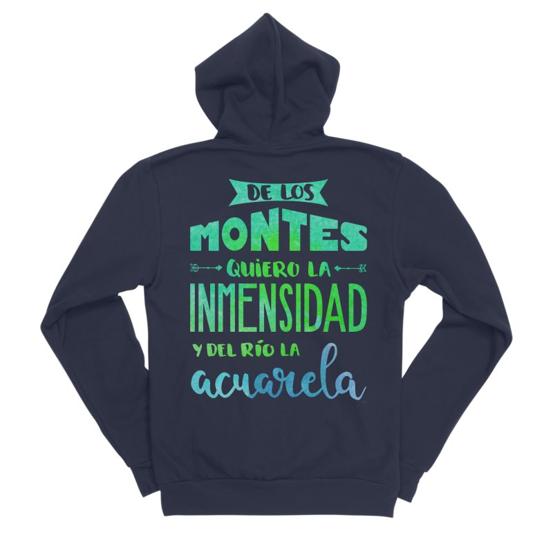"""De los montes quiero la inmensidad"" Men's Sponge Fleece Zip-Up Hoody by Andrea Garrido V - Shop"