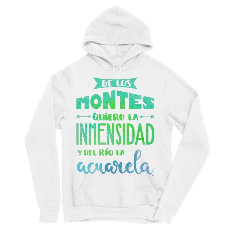 """""""De los montes quiero la inmensidad"""" Women's Sponge Fleece Pullover Hoody by Andrea Garrido V - Shop"""
