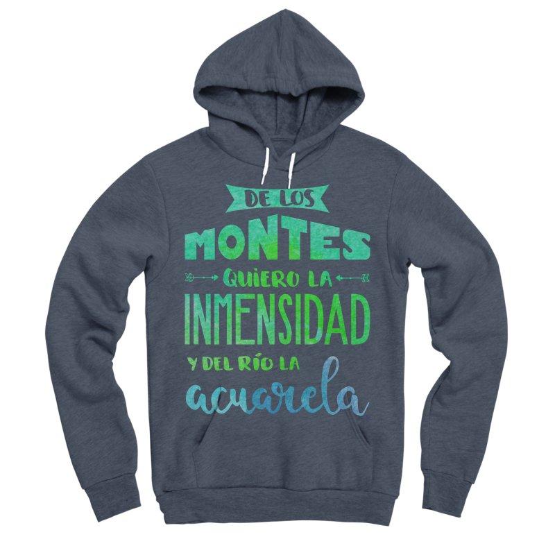 """""""De los montes quiero la inmensidad"""" Men's Sponge Fleece Pullover Hoody by Andrea Garrido V - Shop"""