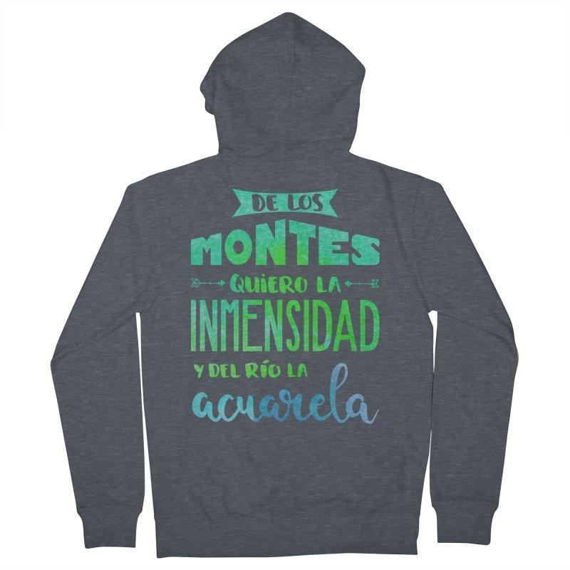 """""""De los montes quiero la inmensidad"""" Men's French Terry Zip-Up Hoody by Andrea Garrido V - Shop"""