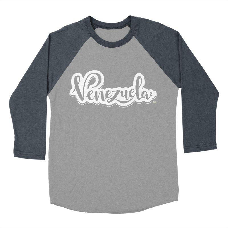 Typo Venezuela (blanco) Men's Baseball Triblend Longsleeve T-Shirt by Andrea Garrido V - Shop
