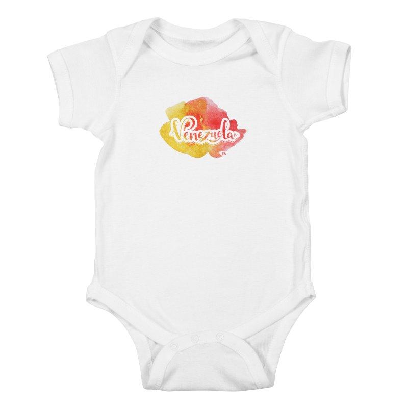 Typo Venezuela (acuarela naranja) Kids Baby Bodysuit by Andrea Garrido V - Shop