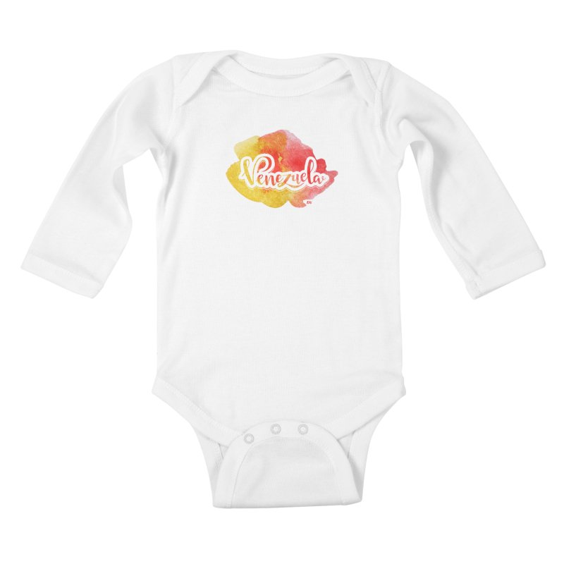 Typo Venezuela (acuarela naranja) Kids Baby Longsleeve Bodysuit by Andrea Garrido V - Shop