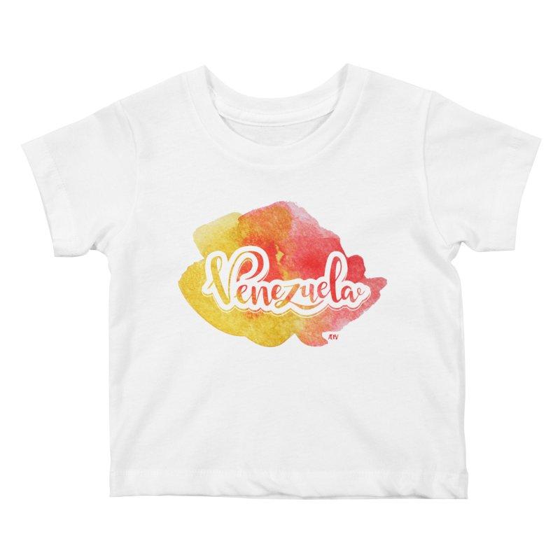Typo Venezuela (acuarela naranja) Kids Baby T-Shirt by Andrea Garrido V - Shop