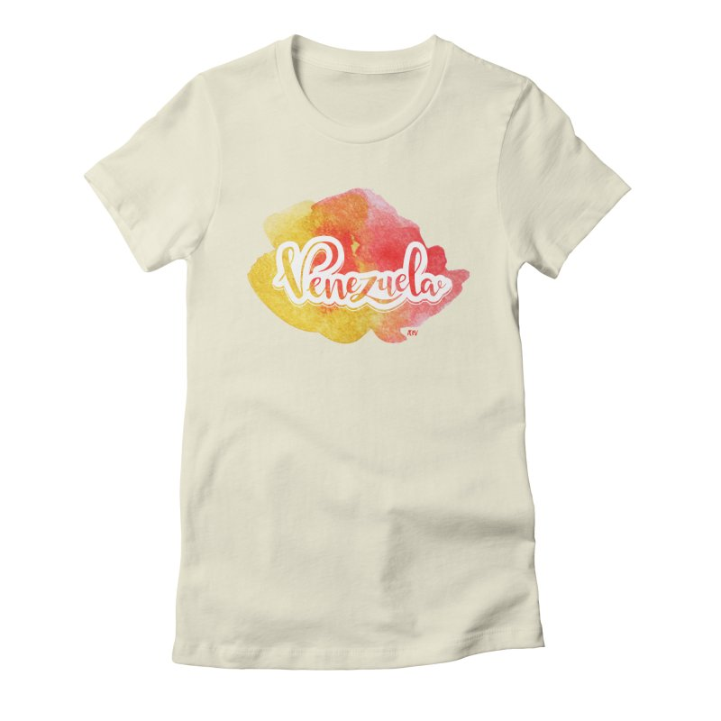 Typo Venezuela (acuarela naranja) Women's Fitted T-Shirt by Andrea Garrido V - Shop
