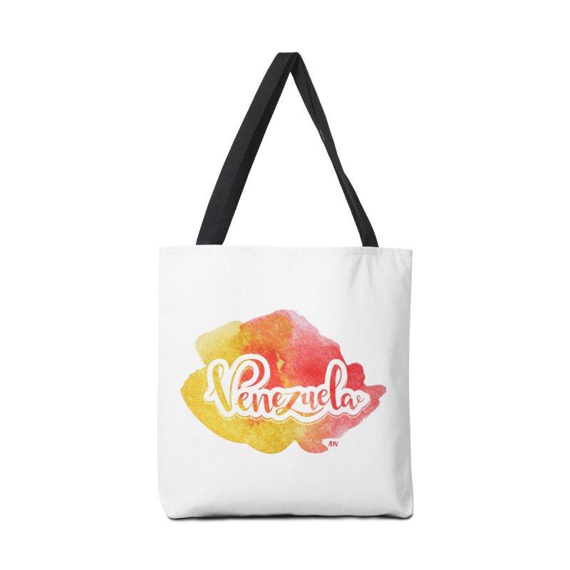 Typo Venezuela (acuarela naranja) Accessories Bag by Andrea Garrido V - Shop