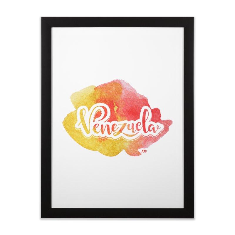 Typo Venezuela (acuarela naranja) Home Framed Fine Art Print by Andrea Garrido V - Shop