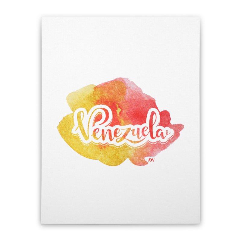 Typo Venezuela (acuarela naranja) Home Stretched Canvas by Andrea Garrido V - Shop