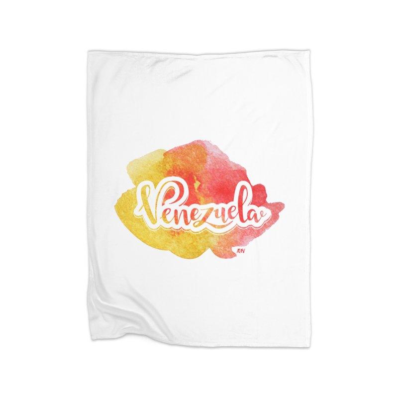 Typo Venezuela (acuarela naranja) Home Blanket by Andrea Garrido V - Shop