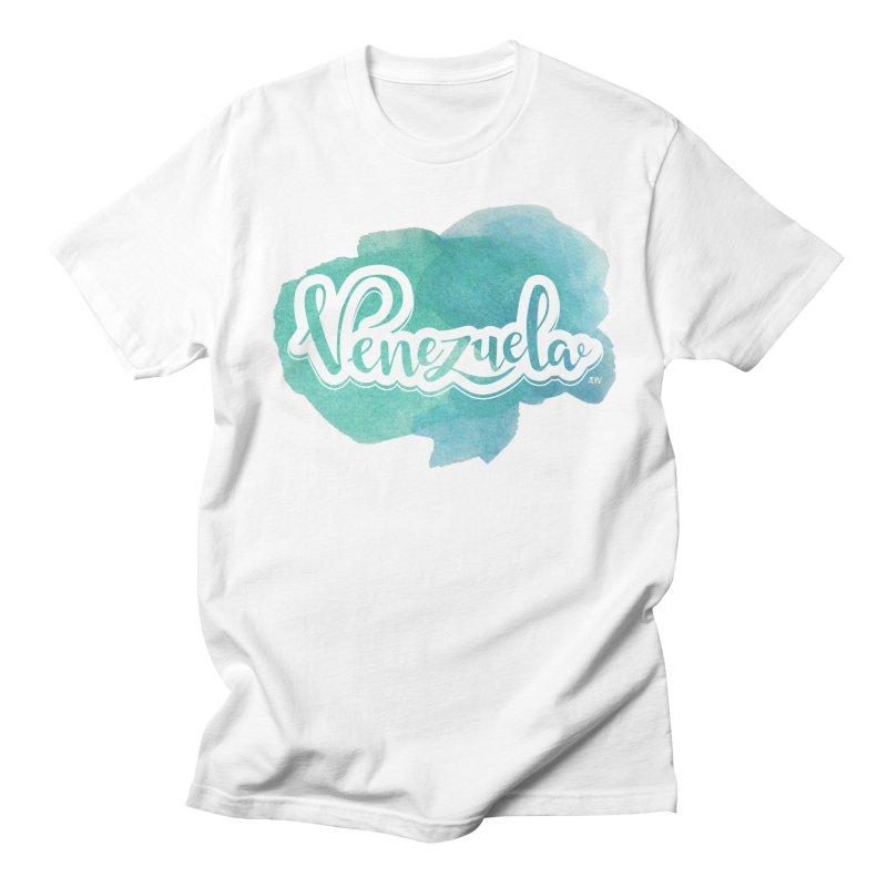 Typo Venezuela (acuarela azul) Men's Regular T-Shirt by Andrea Garrido V - Shop