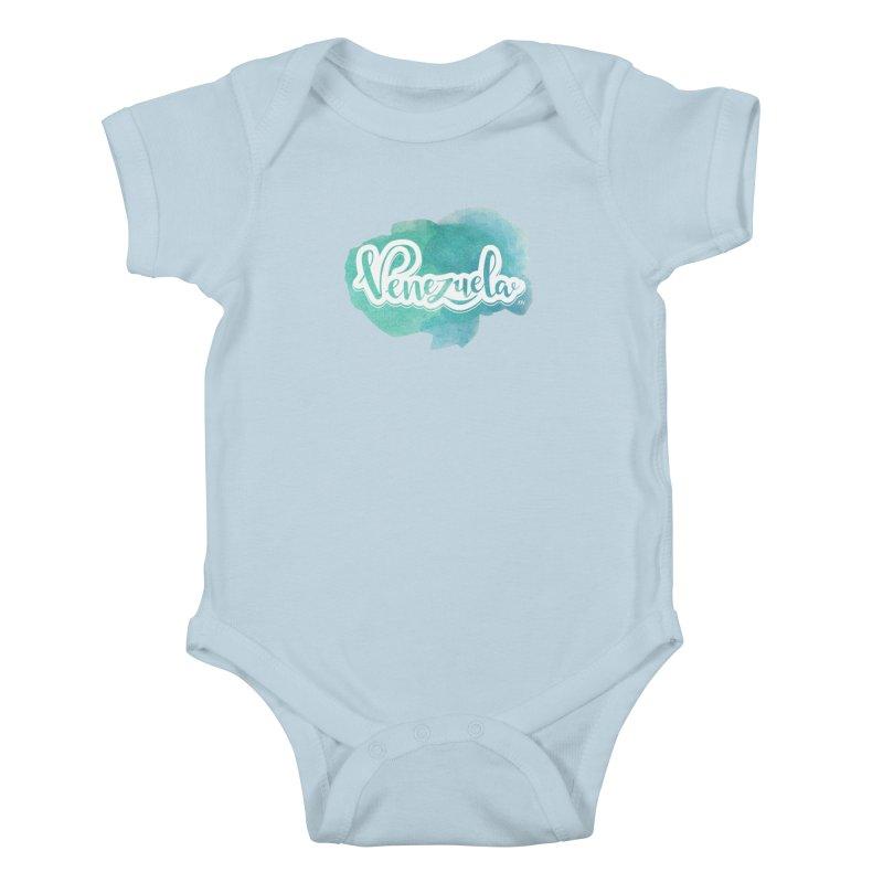 Typo Venezuela (acuarela azul) Kids Baby Bodysuit by Andrea Garrido V - Shop