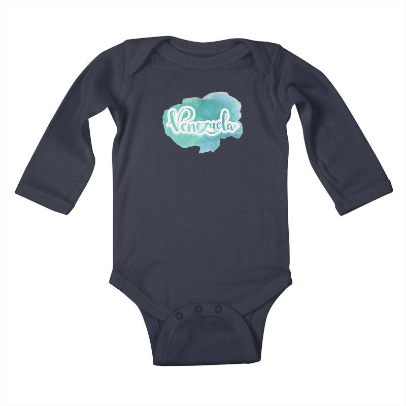 Typo Venezuela (acuarela azul) Kids Baby Longsleeve Bodysuit by Andrea Garrido V - Shop