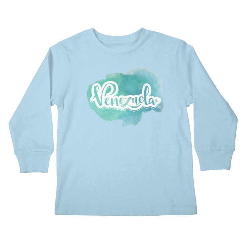 Typo Venezuela (acuarela azul) Kids Longsleeve T-Shirt by Andrea Garrido V - Shop