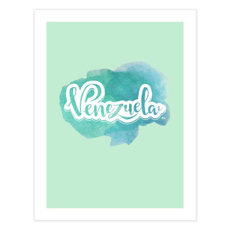 Typo Venezuela (acuarela azul) Home Fine Art Print by Andrea Garrido V - Shop