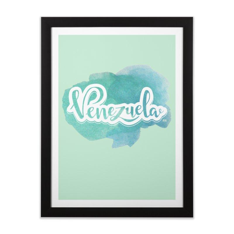 Typo Venezuela (acuarela azul) Home Framed Fine Art Print by Andrea Garrido V - Shop