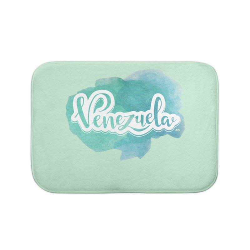 Typo Venezuela (acuarela azul) Home Bath Mat by Andrea Garrido V - Shop