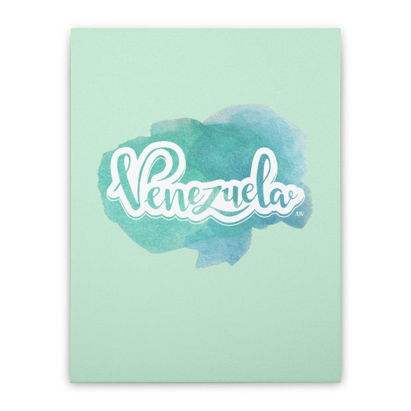 Typo Venezuela (acuarela azul) Home Stretched Canvas by Andrea Garrido V - Shop