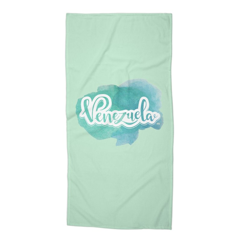 Typo Venezuela (acuarela azul) Accessories Beach Towel by Andrea Garrido V - Shop