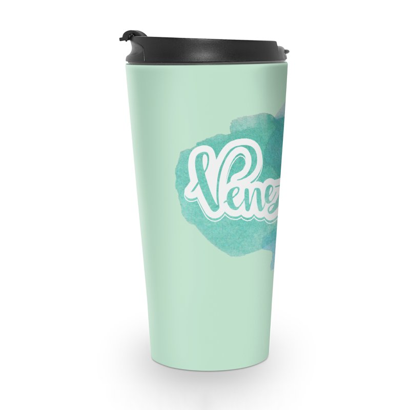 Typo Venezuela (acuarela azul) Accessories Travel Mug by Andrea Garrido V - Shop