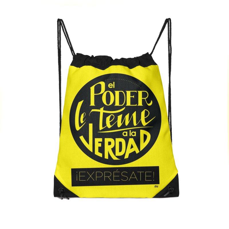 El poder le teme a la verdad Accessories Drawstring Bag Bag by Andrea Garrido V - Shop