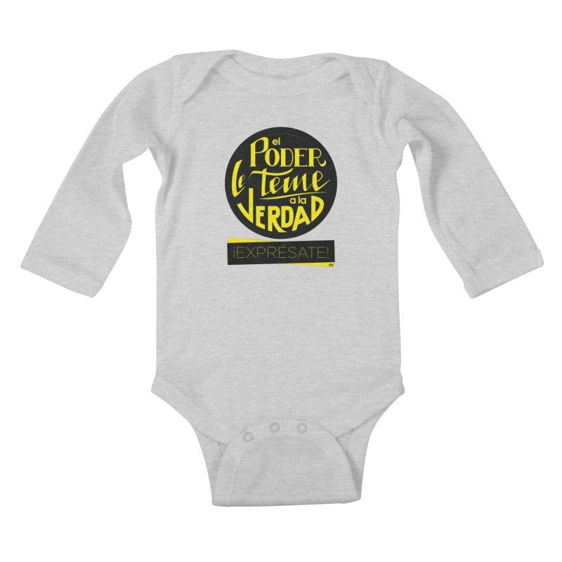 El poder le teme a la verdad Kids Baby Longsleeve Bodysuit by Andrea Garrido V - Shop